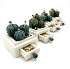 How to make a blooming Cactus Match Box- with Kate Schroeder - Online Pottery Classes - The Ceramic School Slab Pottery, Ceramic Pottery, Ceramic Art, Pottery Classes, Ceramics Projects, Contemporary Ceramics, Clay Crafts, Potted Plants, Polymer Clay