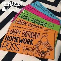 """Birthday in a Bag"" makes recognizing student birthdays easy peasy. Great ideas for filling a small bag with nonfood goodies, including this FREE homework pass 5th Grade Classroom, School Classroom, Classroom Ideas, Classroom Passes, Future Classroom, Classroom Rewards, Homework Incentives, Student Birthdays, Student Gifts"