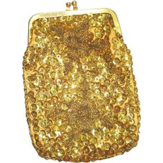 Shimmery Gold Beaded Sequined Evening Bag Cigarette Purse ❤ liked on Polyvore featuring bags, handbags, handbag purse, brown bag, evening purses, special occasion handbags and brown purse