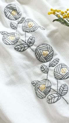 These remind me of the designs of Charles Rennie Mackintosh.  Embroidery ideas: Look to things like old textiles and vintage wallpapers for design inspiration.