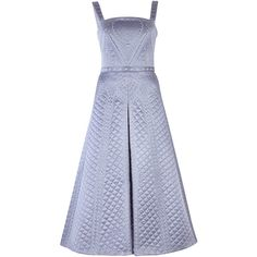 Temperley London Dragon Quilted Silk Dress ($2,795) ❤ liked on Polyvore featuring dresses, blue, blue square neck dress, silk dress, square neck a line dress, square neck dress and a line dress