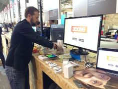 Norbert really concentrated while getting the booth ready. #Zoobe #WebSummit #WebSummit2014 #event #tech #Merkel