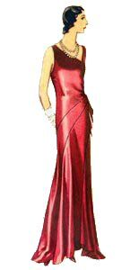 1932 Evening Dress with Asymmetric Bodice What a stunning piece! Dynamic with the asymmetric bodice and uneven skirt hem. The skirt is made ...
