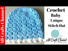 """In this video tutorial you will learn how to make a matching hat for your sweater and blanket set. Quick and easy this hat can be made in several sizes. Please remember these are suggested hook sizes, everyone crochets differently. I hope you enjoy this video. Please click """"Like"""" and subscribe. Also, let me know what other projects you would like to see.Infant- Size G Hook, Babies Size H hook, Toddler Size I hook. To crochet a beanie for an older child use a size J hook and a medium..."""