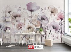 Purple Watercolor Small Flowers Wallpaper, Fresh Flowers Floral Wall Murals, Living and Dinning Room Wallpaper Lotus Wallpaper, Nursery Wallpaper, Flower Wallpaper, Wallpaper For Walls, Wallpaper Ceiling, Painted Wallpaper, Wallpaper Murals, Kitchen Wallpaper, Tree Wallpaper