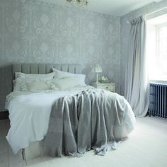 62 Ideas Wallpaper Bedroom Feature Wall Blue Patterns For 2019 Woman Bedroom, Blue Bedroom, Trendy Bedroom, Bedroom Decor, Ashley Bedroom, Bedroom Ideas, Master Bedroom, Striped Wallpaper, Trendy Wallpaper