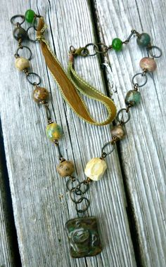 Coffee Earth tone ceramic necklace Antiqued by McKeeJewelryDesigns