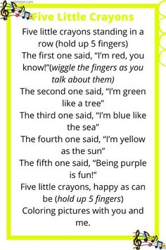 Five Little Crayons Color Song