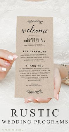 Let your wedding guests know what to expectwith this double sided rusticwedding program. Print your own with this editable template. Browse more stunning wedding programs at www.papersizzle.com. // Kraft Wedding Program // Wedding Programs // Rustic Wed