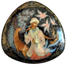"Russian Lacquer Box Titled ""Snowmaiden"" by Shatokina Palekh"