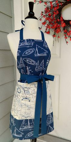 Reversible UpCycled Apron  Nautical & Map Print by DrapesofWrath, $50.00