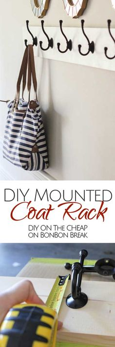 DIY Mounted Coat Rack - what an easy solution!