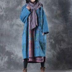 top quality blue prints maxi coats casual v neck Winter coat New jackets coat