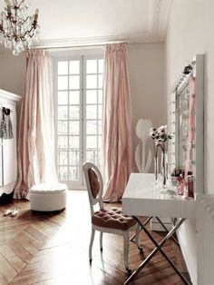 Mood Board Monday: Decorating with Rose Quartz - Style Your Senses (Love the drapes! Serenity blue would be beautiful, too.)