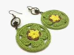 Green Yellow Crochet Flower Earrings with Flower by JagataraArt