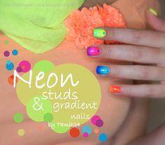 Neon studs & gradient nails.