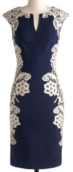 Navy dress with white lace design detail //