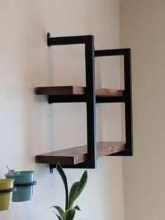 This Industrial Shelving Unit is Handcrafted from Cold Rolled inch square tube Metal. The Metal Shelving units are handmade to order. Each 2 shelf unit is tall. This Industrial Shelving unit… Industrial Metal Shelving, Metal Shelving Units, Metal Shelf Brackets, Modern Shelving, Urban Industrial, Industrial Furniture, Vintage Industrial, Wood Shelves, Industrial Style