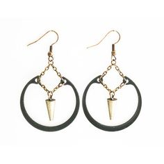 Suspended Ring Earrings Black, $29, now featured on Fab. by Crow Jane Jewelry