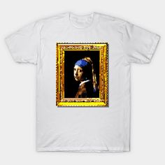 "8-bit pixel art version of Dutch master Johannes Vermeer's famous baroque painting, ""Girl with a Pearl Earring"" – let fine art bring some class, culture, and sophistication to your digital world (or vice versa?)"