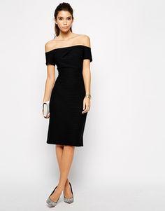 Love Textured Rib Off Shoulder Bodycon Dress