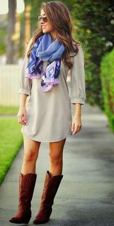 Light Grey Mini Dress, Scarf, Long Boots Street Style