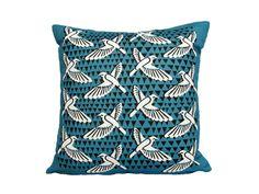 Deco Birds Blue Cushion Cover R450.00 http://www.petrichorstudio.com/products/cushion_covers/HMC004/