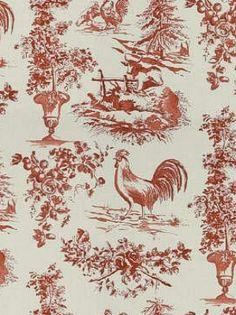 French Country Rooster Toile Fabric Blue Mama Mix Something Like This With The Yellow
