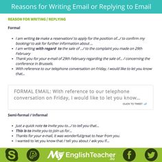 Reasons for Writing Email or Replying to Email