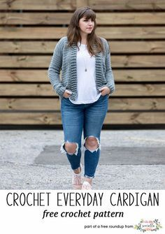 Crochet this easy everyday cardigan sweater by Sewrella