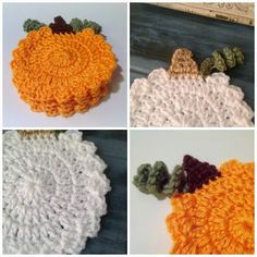Pumpkin crochet coasters with free pattern link.