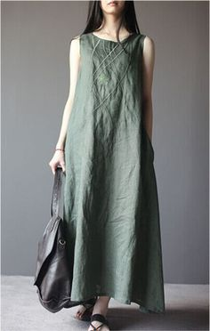 #Embroidered #Greendress   #LinenDress #dress
