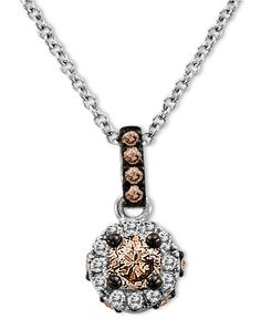 Le Vian 14k White Gold Necklace, Chocolate Diamond (1/4 ct. t.w.) and White Diamond Accent Pendant - Diamonds - Jewelry & Watches - Macy's