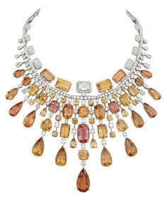 High Jewelry, Unique Jewelry, Topaz Jewelry, Jewellery, Chanel No 5, Imperial Topaz, Pendant Design, Champagne Color, Necklace Set
