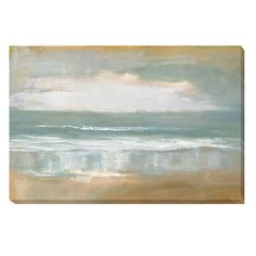 Create a tranquil mood in any room when you hang this unframed canvas art from Caroline Gold. This landscape canvas art features a shoreline rendering of waves lapping against the sands with a slightl Art Gallery, Art Prints, Landscape Canvas Art, Painting, Landscape Canvas, Painting Prints, Art, Seascape Paintings, Gold Paint