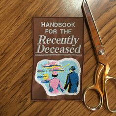 Beetlejuice 6in. Embroidered Handbook for the Recently Deceased book cover patch $16.00
