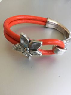 Silver Flower and Silver Half Cuff Leather Bracelet by joytoyou41