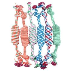 This is a cotton bone with a knot in the both sides, which will help massage your dog's jaws and gums. This beautiful multi-coloured dog toy is made up of high quality cotton, dyed in safe colours.