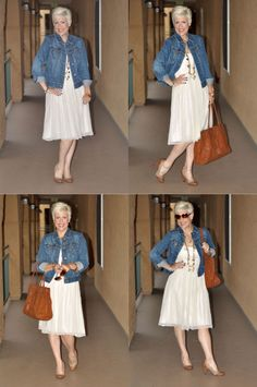 Re-wear old bridesmaid's dress: Flowy white dress, denim jacket, reuse, up cycle