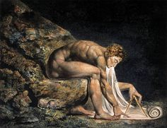 """William Blake - painting of Isaac Newton 1795. """"The tree which moves some to tears of joy is in the eyes of others only a green thing that stands in the way. Some see nature all ridicule and deformity... and some scarce see nature at all. But to the eyes of the man of imagination, nature is imagination itself. """" William Blake"""