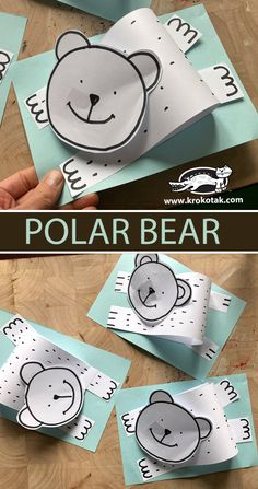 polar bear Winter Crafts For Kids, Winter Kids, Art For Kids, Craft Activities For Kids, Projects For Kids, Preschool Activities, Preschool Art, Art Lessons Elementary, Animal Crafts