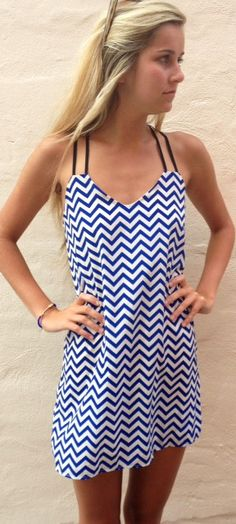 Love me Blue chevron mini dress - Boca Leche