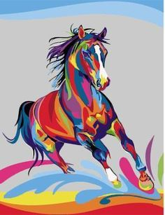 Home Office Decoration Living Room Art Wall Decor HD Prints Animal Color Horse Oil Painting Pictures Printed On Canvas Source by giadaraicovi. Painted Horses, Oil Painting Pictures, Pictures To Paint, Abstract Pictures, Arte Pop, Horse Oil Painting, Horse Paintings, Diy Painting, Colorful Animals