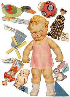 Kewpie Scootles 1939 Tourist Printable Vintage Paper Doll by mindfulresource