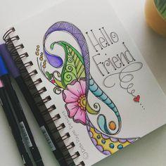 Hello friend! #watercolors #tombow #handlettering #happyart #debipaynedesigns