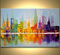 Cityscape painting - colorful city art modern palette knife ...