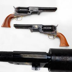 GUN OF THE DAY – Colt Dragoon Revolver  We've found that Colt handguns tend to attract some attention, so let's see how this engraved Dragoon makes out!  While a 2nd Generation example, this Third Model Dragoon has a serial number that follows along where the original production ended in 1860. Covered by scroll engraving, there are some nice accents in gold inlay, including a golden line around the end of the barrel and the Colt emblem.