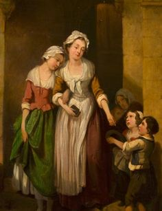 Giving Alms to Beggar Children, in the manner of Francis Wheatley