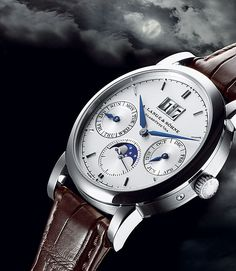 """A. Lange & Soehne's Saxonia Annual Calendar marks the first such complication for the Glashütte-based luxury watch brand. This type of calendar adjusts itself automatically for the varying lengths of the months with 30 or 31 days: it """"knows"""" which are which. An annual calendar is stumped only by February, which has either 28 or 29 days. When March begins, the owner moves the date forward to the first of that month. An annual calendar is so named because it needs adjustment just once a year."""