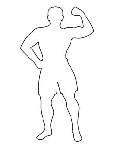 Use the printable outline for crafts, creating stencils, scr. Best Spotify Playlists, Stencils, Muscle Man, Puppet Making, Kids Sports, Art Journal Inspiration, Outline, Sexy Men, Doodles